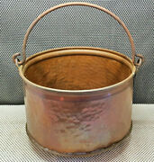 Antique Cauldron Pot 11 13/16in Copper Hammered Handle Wrought Iron Funnel Rack