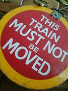 Antique Reclaimed Wooden Railway Trains Br Sign Industrial Painted Underground