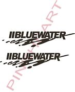 2 Bluewater Small Yeti Blue Water Boat Boats Vinyl Sticker Decals Decal Hull