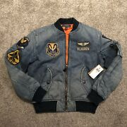 New Polo Limited Edition Denim Patch Flight Bomber Jacket Sz Small