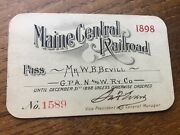 1898 Maine Central Railroad Pass