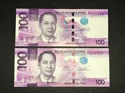 Philippines Ngc 2019 And 2019h 100 Pesos Solid 7 Banknote W777777 Same Sn - 2pcs
