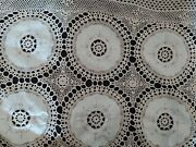 Handmade Cotton Bedspread Coverlet Lace Crochet Embroidered Bed Cover Vintage Hq
