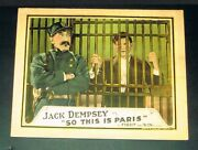 Old Rare 1924 Jack Dempsey So This Is Paris Lobby Card Movie Poster Boxer Boxing