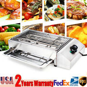 Electric Indoor/outdoor Grill Table Top Bbq Barbecue Smokeless Griddle With Pan
