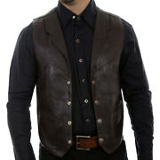 Scully Mens Brown Soft Touch Lamb Western Lambskin Lapel Vest 509-143