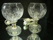 Pair Vintage Ball Shaped Heavy German Lead Crystal 2 Pc Table Lamps 10