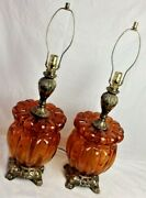 Mid-century Set Of 2 Amber Glass Table Lamps - 3 Way Switch - Gorgeous