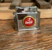 Vintage Coca Cola Lighter 3d Button Emblem Silver Lighter Advertisement Nos Nice