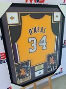 Shaquille Oandrsquoneal Hand Signed La Lakers Jersey With Inscription Rare With Beckett