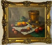 Antique Oil Painting Still Life And039copper And Frutisand039 Created In 1920th Framed Signe