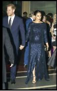 New Roland Mouret Navy Blue Sequined Sarandon Gown Dress Aso Meghan Markle Usa 6