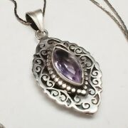 Vintage Sterling Silver Art Deco Amethyst Glass Pendant And Chain Necklace