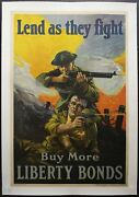 1918 Lend As They Fight Sidney Riesenberg Poster Federal Reserve Wwi Original Vg