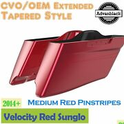 Velocity Red Sunglo Cvo Tapered Extended Saddlebag Pinstripes For 14+ Harley