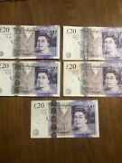 20 X 5 Travel Money Great Britain Banknotes. 100 Pounds Free Shipping