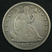 1877 S Seated Liberty Silver Half Dollar - Cleaned