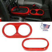 Red Gear Shift Panel And Cup Holder Cover Trim Ring For Jeep Wrangler Jk 2007-10