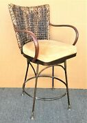 Palecek Havana Swivel Woven Abaca Leather Arms And Wrought Iron Counter Stool