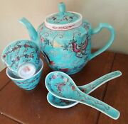Old Chinese Turquoise Teapot W 2 Cups And Spoons Famille Rose Butterflies And Goards