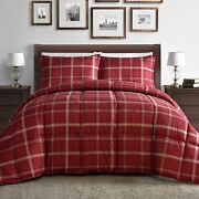 Red Plaid Down Alternative Twin Full Queen And King Comforter Set