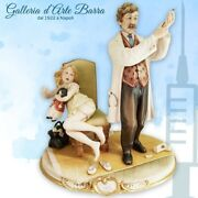 Porcelain Of Capodimonte.dottore With Bambina. That Realism