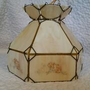 Vintage Slag Glass Wire Wrap Floral Pink Hanging Country Electric Lamp Light
