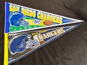 San Diego Chargers Vintage Felt Pennants 2- Full Size- By Wincraft - Usa