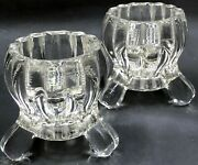 2 Vintage Pressed Glass Candlesticks Candle Holders Round Scalloped Style Footed