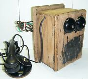 Vintage Western Electric Telephone And Wood Ringer Box
