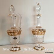 Pair Of Decanter In Crystal Saint - Louis Thistle Gold In Perfect Condition