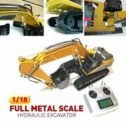 Custom Made Rtr 1/18 Full Metal Scale Hydraulic Excavator With Fsi6 2.4g New