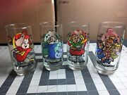 1985 Chipmunks Alvin Simon Theodore Chipettes Glass Hardees Promo Cup Lot Of 4