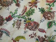 Floral Barkcloth Vintage Drapes Curtains Cutter Fabric Approx Size 41 X 74