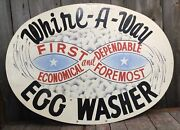 Rare Large Early Vintage Oval Egg Washer Agriculture Dairy Farm Advertising Sign