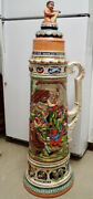 Colossal 32l Full Color Gerz Stein With Hand-painted Relief Scenes And Figural Lid