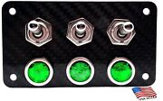 Real Carbon Fiber Panel With 3 Silver Toggle Switches And Green Led Indicators
