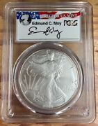 2006 W .999 Silver American Eagle Burnished Sp70 Pcgs Flag Signed Director E Moy
