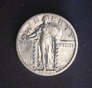 1920-d 25c Standing Liberty Quarter, Scarce In This Condition, Very High Grade
