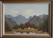 Gerhard Wagner Large Original Oil Painting Ceres Farm And Mountain Western Cape Sa