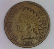 1859 Indian Head Cent Very Fine Quality Type Coin One Penny