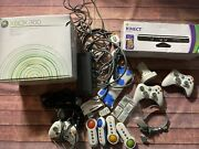 Xbox 360 White Console Headset Wireless Controllers Batteries Kinect Sensor