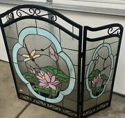 Fireplace Screen Style Stained Glass 3 Section Hummingbird
