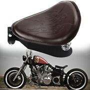 Motorcycle Solo Driver Seat Kit Brown Flame For Harley Chopper Bobber Sportster