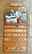 1991 Wood Perpetual Wall Calendar Hand Painted Complete Euc