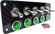 Real Carbon Fiber Panel With 5 Silver Toggle Switches And 5 Green Led Indicators