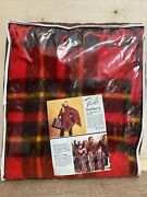 Vintage Faribo Wool Stadium Blanket Poncho Usa Red Plaid New In Package