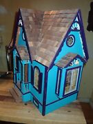 Vintage Wooden Doll House With Furniture