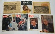 Lot Authentic Vintage Historical Newspapers And Magazine Kennedy Jfk, Lbj And More