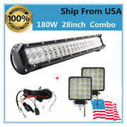 180w 28and039and039 Flood Spot Led Work Light Bar+wiring 48w Pods Rzr Truck Vs 25and039and039 31and039and039
